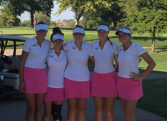The golf team, (from left to right freshman Drew Nienhaus, freshman Nicole Rallo, senior Grace Renfer, junior Lauren Gallagher, and sophomore Grace Aromando), poses for a photo at State, at Sedalia Country Club on October 9th.   Photo courtesy of the SJA golf team