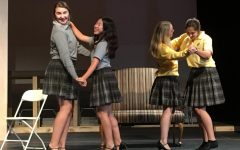 The cast of Little Women, last year's musical, practiced a dance during rehearsals.