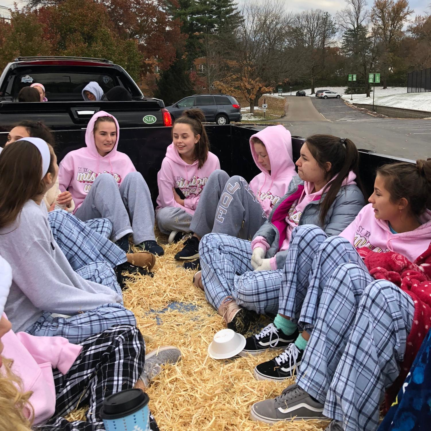 Sophomore enjoy a hayride in 30 degree temperatures at their class fundraiser on Wednesday.