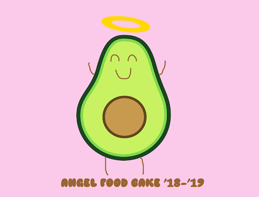 This is the anticipated Tshirt logo for St. Joe's newest club, Angel Food Cake.  Art created by: Elsa Connolly, Molly Vincent, and Mrs. Madej.