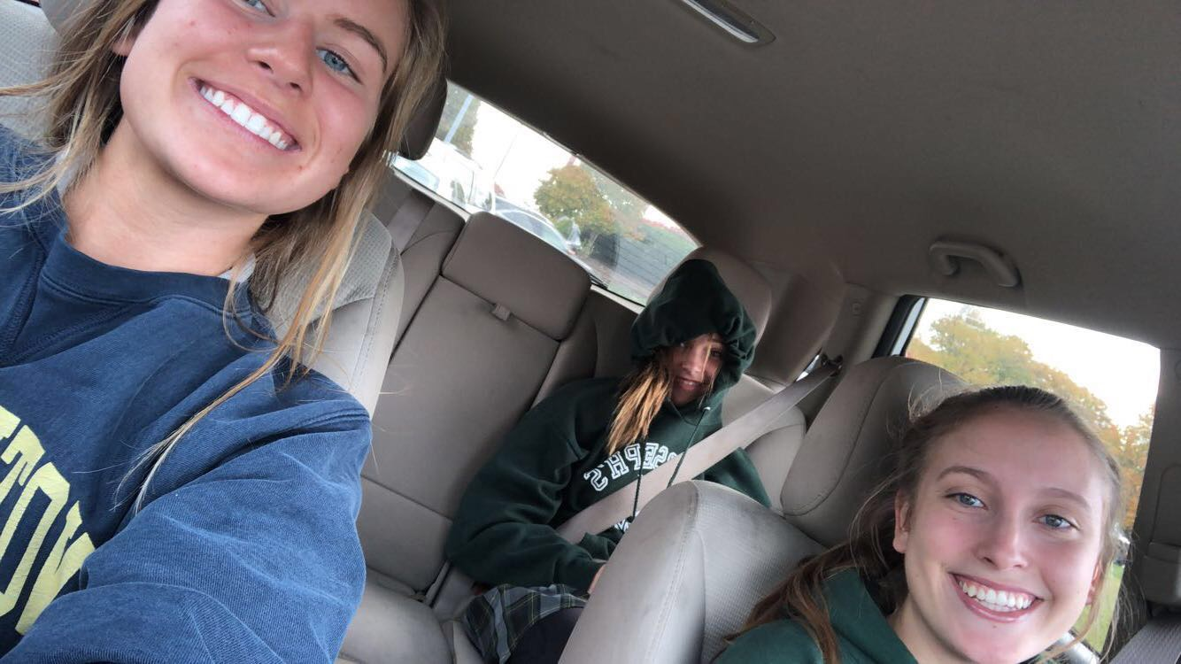 The carpool of the month posing for a selfie. Photo taken by Katie Doorack.