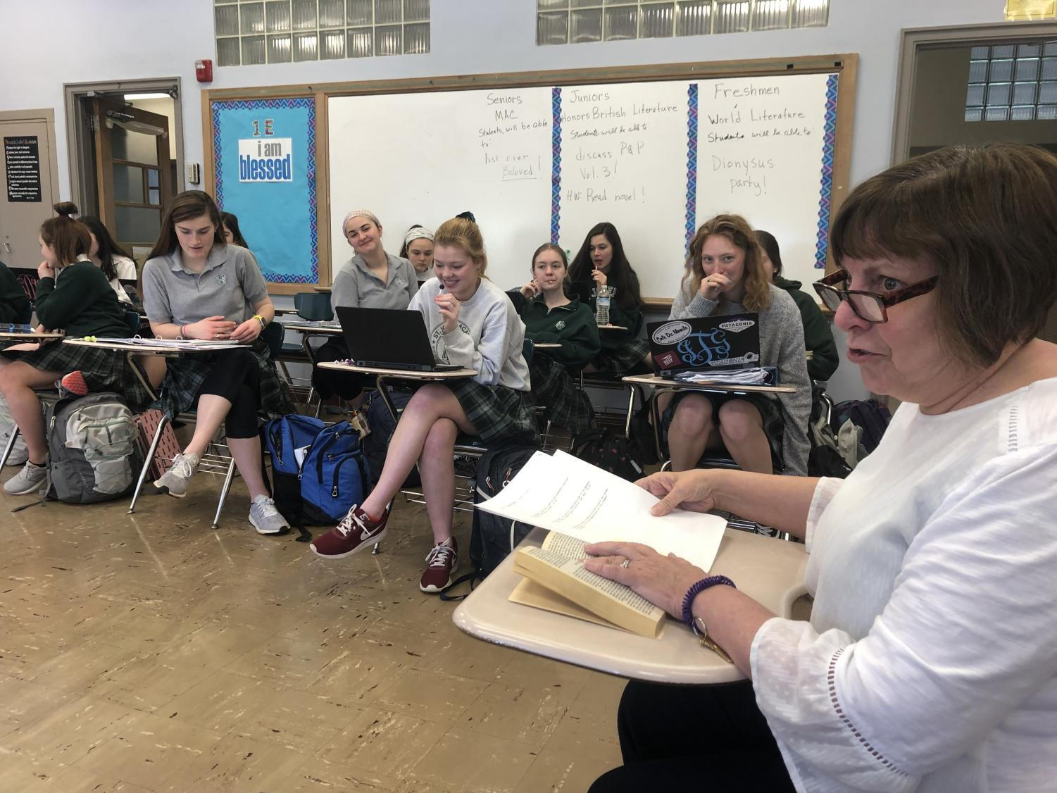 Mrs. Worrall discusses Pride and Prejudice with her Honors British Literature class. Photo by: Parker Lewallen