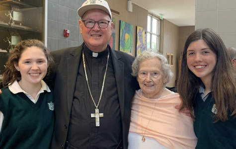 (Left)Grace Dolan '20, Cardinal Dolan, Grace and Kathleen's Grandma, and Kathleen Dolan '23 (right) enjoying refreshments after mass.