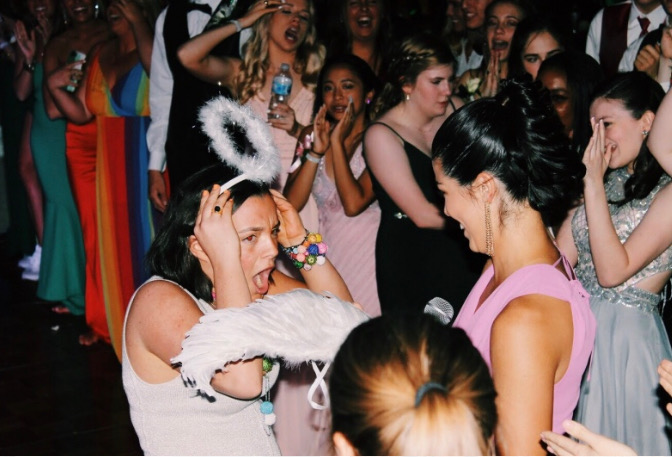 Senior Joy Connolly with a look of shock and excitement after being named Prom Angel from the votes of her classmates.