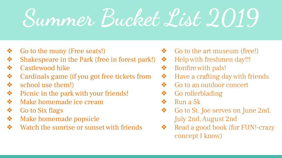 Summer Bucket List 2020.Summer Bucket List 2019 The Voice