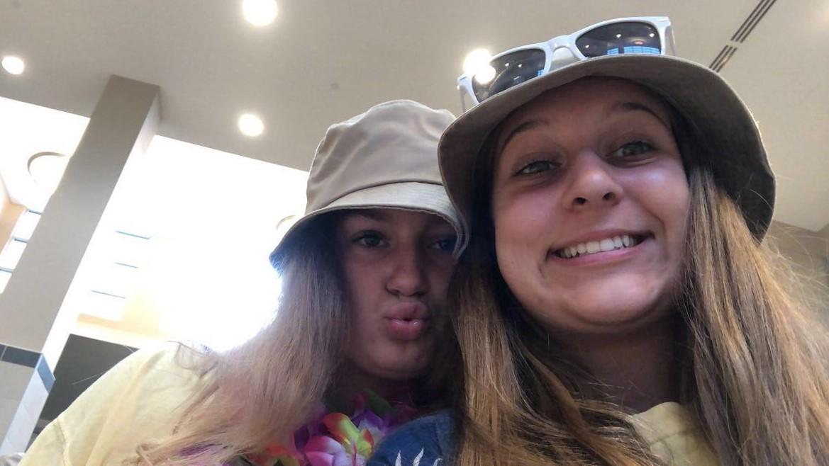 Freshmen Noelle Adamski (right) and Caroline Ellis (left) smile for their first Welcome Week.