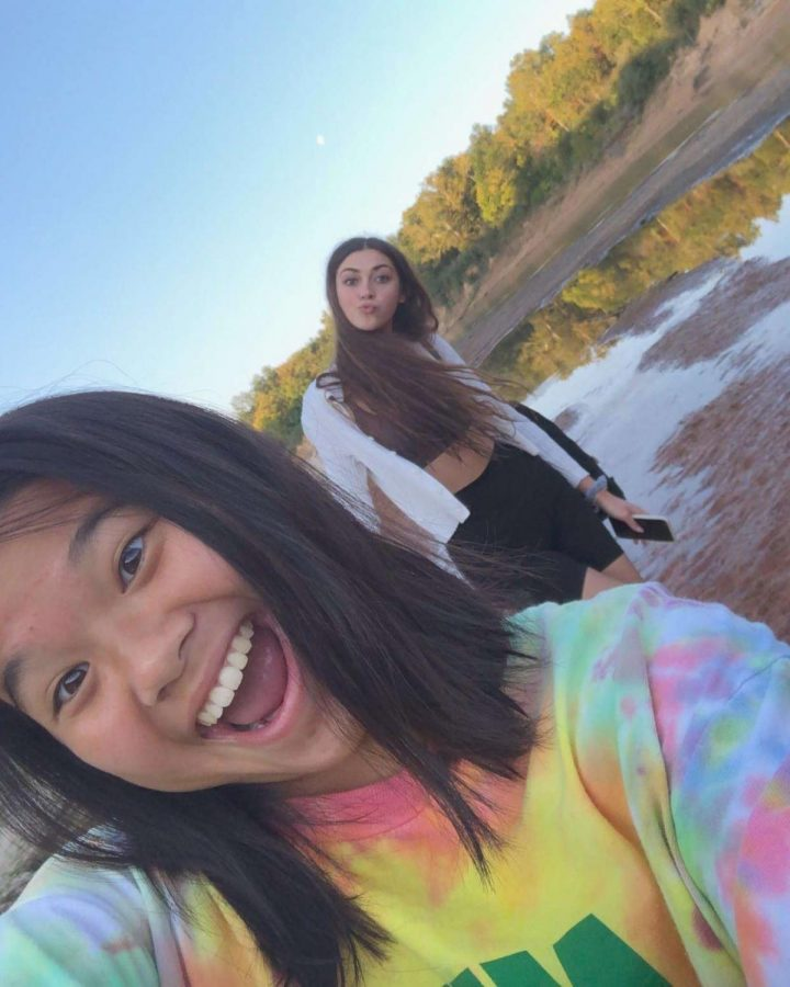 Megan Nguyen and Olivia O'Malley socially distancing while hiking on the Castlewood Trails.
