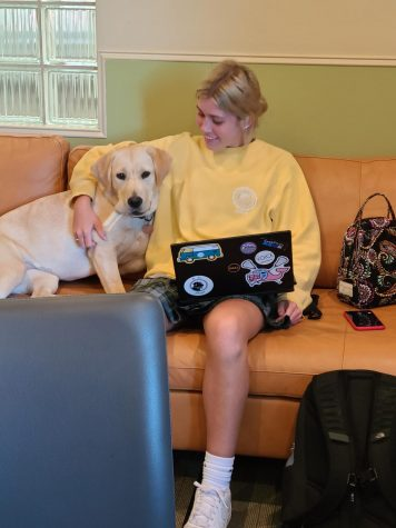 Lauren Stadnyk and Lily getting ready to write her article in Dr. Mooney