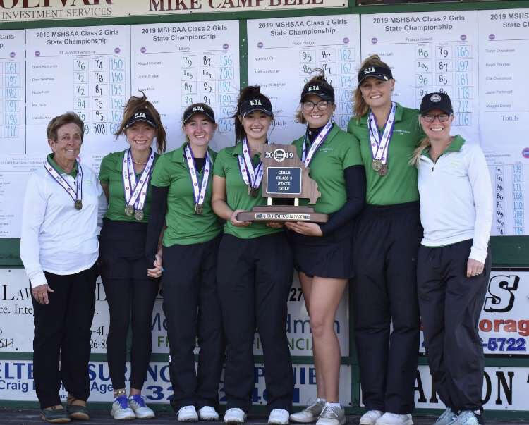 The St. Joe golf team posed with their 2019 State Title, and went on this year to win another.