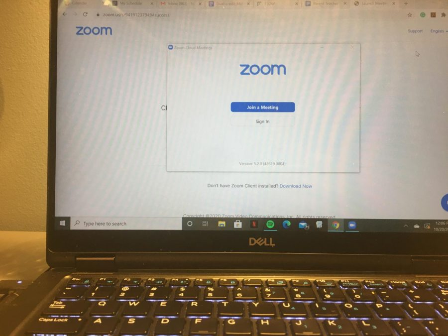 The parent-teacher conferences were held on the video conferencing website, Zoom, this year.