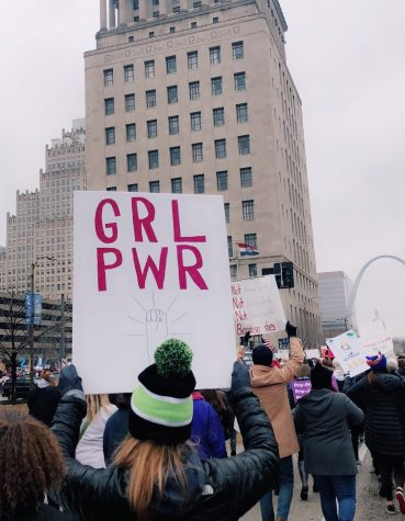 An empowering sign at the St. Louis Women