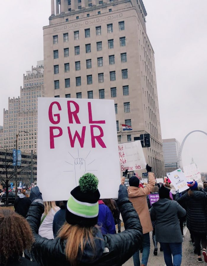 An empowering sign at the St. Louis Women's March