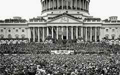 This is one of the previous inaugurations, a photo was taken of the white house during the ceremony.