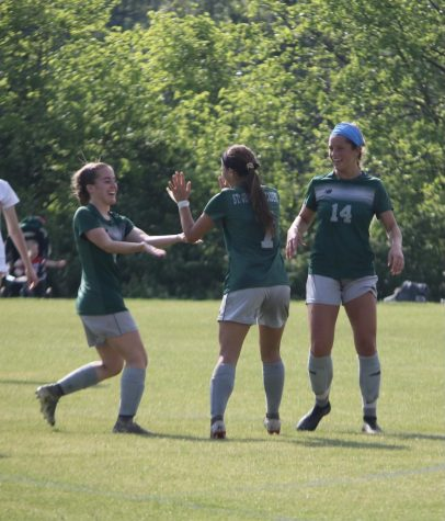 Ella Kertz celebrating after scoring a goal in the first game after her Spring tryouts.